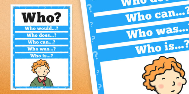 Who? Question Poster - posters, displays, display, questions