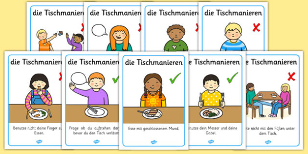 die Tischmanieren - german, Table Manners Rules Display Poster, table manners, manners, rules, display, poster, sign, good manners, good behaviour, behaviour, eating, food, lunch, table, break