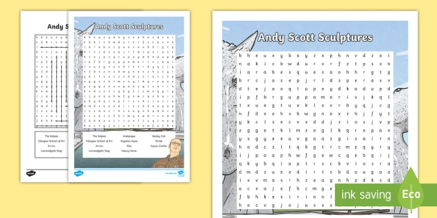 CfE Andy Scott Sculptures Word Search - Scottish Landmarks, CfE, Wordsearch, Andy Scott, Sculptures, Kelpies, tourist attractions,Scottish
