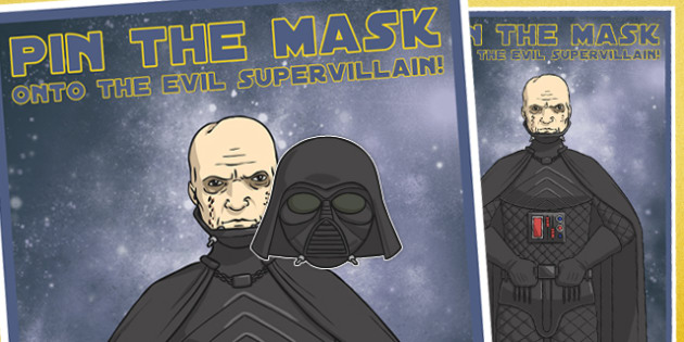 Space Wars Pin the Mask onto the Evil Supervillain Party Game - space wars, star wars, game, mask, super villain