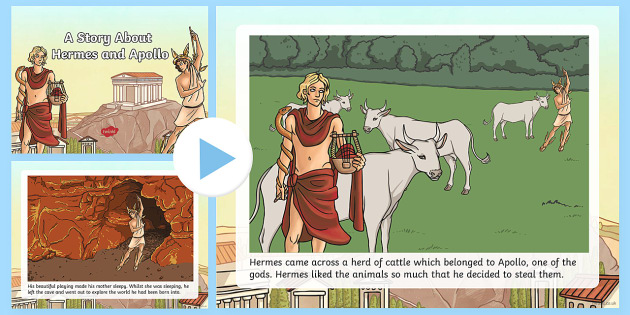 A Story About Hermes and Apollo PowerPoint - Request KS2, Hermes, Apollo, baby, cattle, lyre, music, Zeus, messenger, god, greek gods