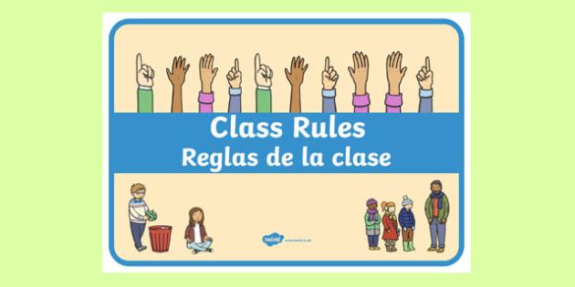 Class Rules Display Poster Spanish Translation - spanish, behaviour, record, display, classroom, management, visual aid, ks1, eyfs