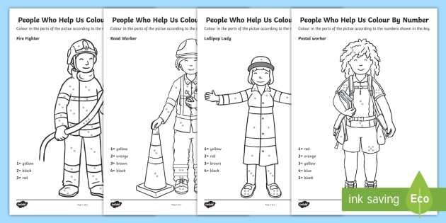 People Who Help Us Colour By Number Dots Pack - colour, number dots, number, dots, people who help us