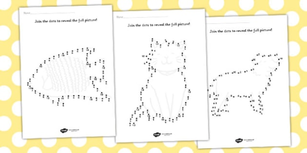 Counting in 2s to 10 Dot to Dot Sheets Animals - dot to dot