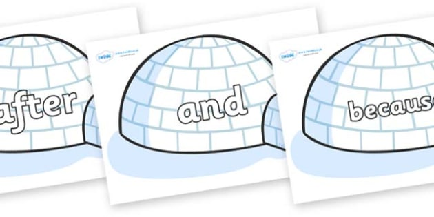 Connectives on Igloos - Connectives, VCOP, connective resources, connectives display words, connective displays