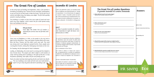Great Fire of London Differentiated Reading Comprehension Activity English/Italian - KS1 Comprehensions, The