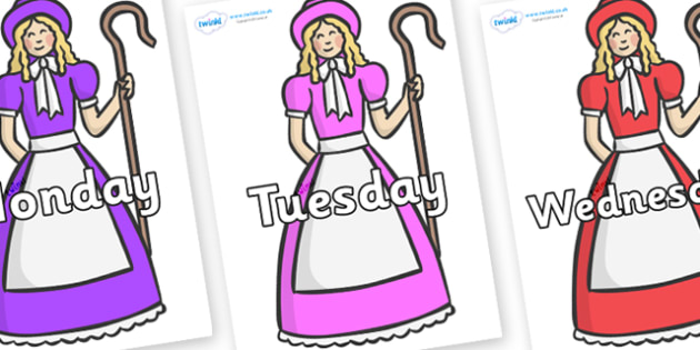Days of the Week on Little Bo Peep - Days of the Week, Weeks poster, week, display, poster, frieze, Days, Day, Monday, Tuesday, Wednesday, Thursday, Friday, Saturday, Sunday