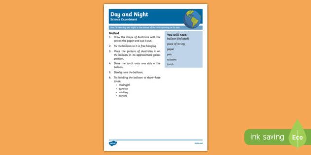 Day and Night Science Experiment-Australia