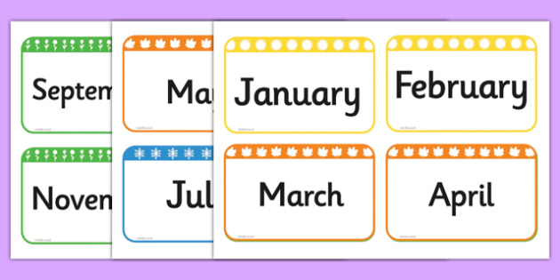 Months of the Year Flashcards - australia, months, year, flashcards, cards