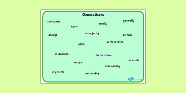 Generalisers Word Mat - generaliser, word mat, word, mat, ks2