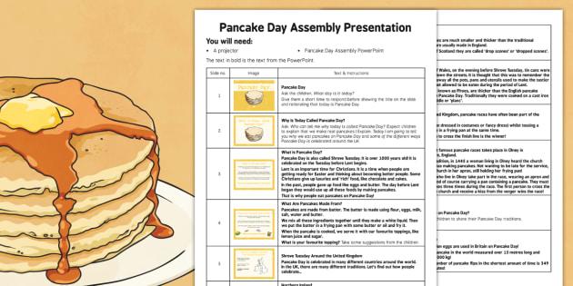 Pancake Day Assembly Script - Pancake Day, Shrove Tuesday, Assembly, script