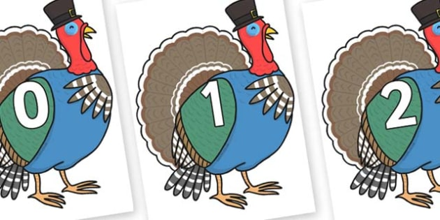 Numbers 0-100 on Turkey Lurky - 0-100, foundation stage numeracy, Number recognition, Number flashcards, counting, number frieze, Display numbers, number posters