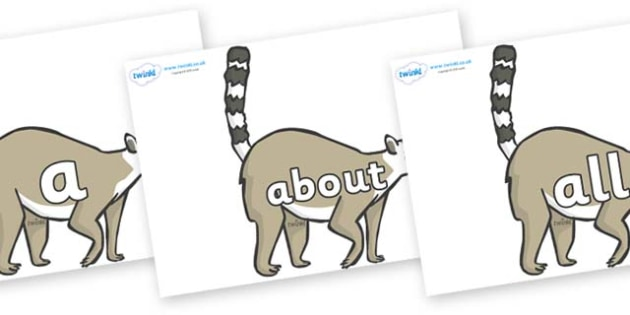 100 High Frequency Words on Lemurs - High frequency words, hfw, DfES Letters and Sounds, Letters and Sounds, display words