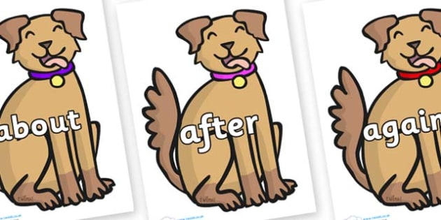 KS1 Keywords on Dog - KS1, CLL, Communication language and literacy, Display, Key words, high frequency words, foundation stage literacy, DfES Letters and Sounds, Letters and Sounds, spelling