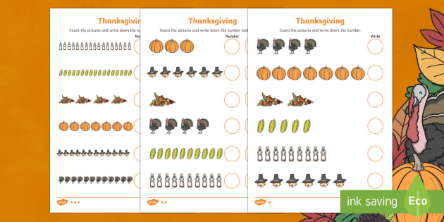 Thanksgiving Differentiated Counting Math Worksheet