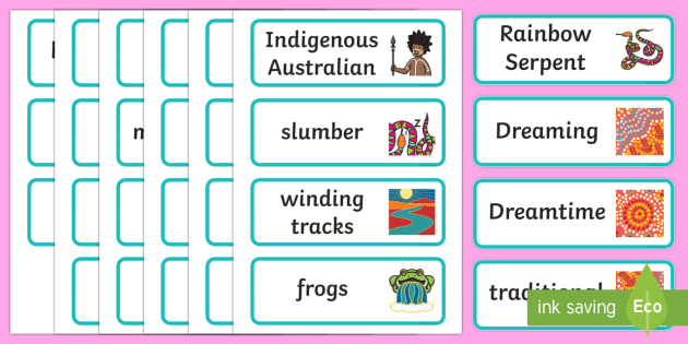 The Rainbow Serpent Word Cards