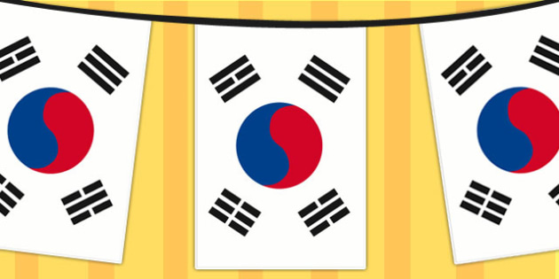 Korea Republic A4 Flag Bunting - countries, geography, flags