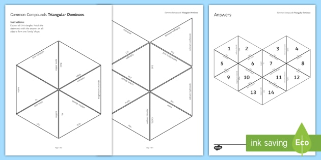 Chemical Compounds Tarsia Triangular Dominoes - Tarsia, gcse, chemistry, compounds, chemical, formula, common formula, compound, common compounds, plenary activity