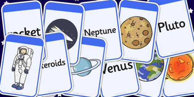 Space Matching Flashcards - space, matching, flashcards, cards