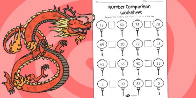 Chinese Number Comparison Worksheet - australia, comparison