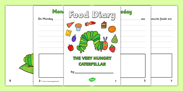 5 Day Food Diary Writing Frame to Support Teaching on The Very Hungry Caterpillar - the very hungry caterpillar, 5 day food diary, food diary, diary, journal, five day, planner, my diary, booklet, page border, writing template, record, healthy eating
