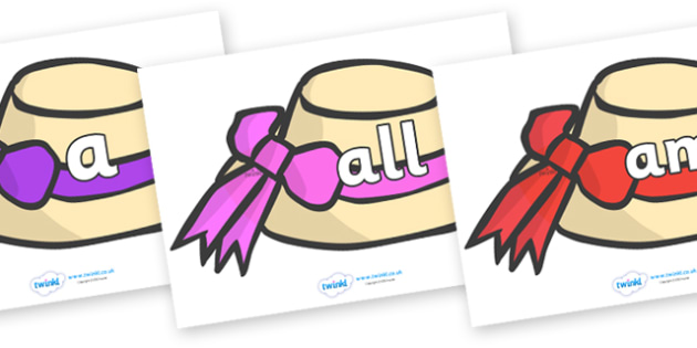 Foundation Stage 2 Keywords on Summer Hats - FS2, CLL, keywords, Communication language and literacy,  Display, Key words, high frequency words, foundation stage literacy, DfES Letters and Sounds, Letters and Sounds, spelling