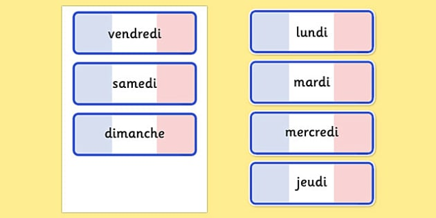 Days Of The Week Word Cards - word cards, week, french