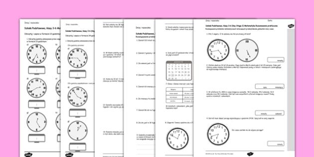 Mierzenie czasu Test Matematyka Szkoła Podstawowa po polsku - polish, Key Stage 2, KS2, Reasoning, Test, Practice, Measurement, Time