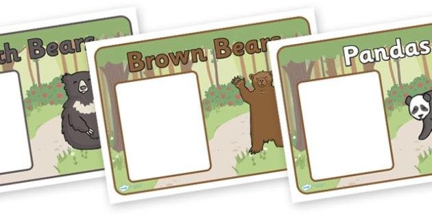 Editable Class Group Signs (Bears) - Bear, group signs, group labels, group table signs, table sign, teaching groups, class group, class groups, table label