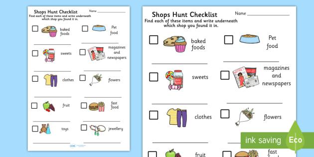 Shops Hunt Checklist - shopping, shops, hunt checklist, checklist