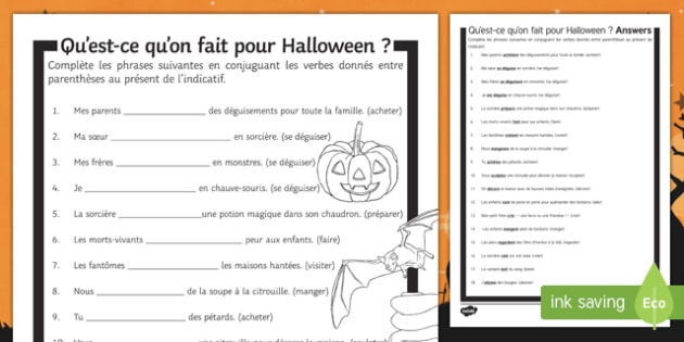 Halloween Present Tense Gap Fill Activity Sheet-French, worksheet