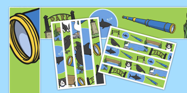 Is That a Shark? Display Borders -  shark in the park, sharks, telescope, guessing, rhyme, rhyming, display, border, literacy