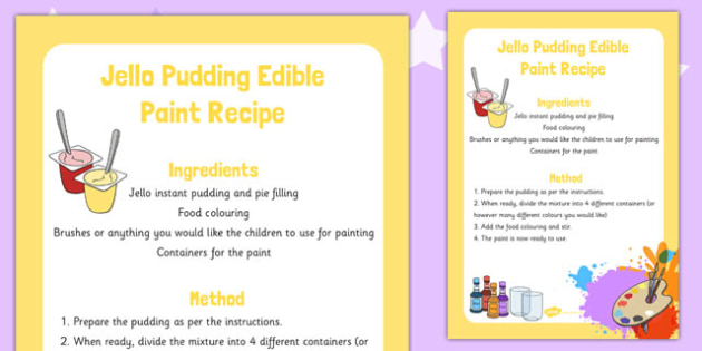 Jello Pudding Edible Paint Recipe -art, design, technology, food, early years, KS1
