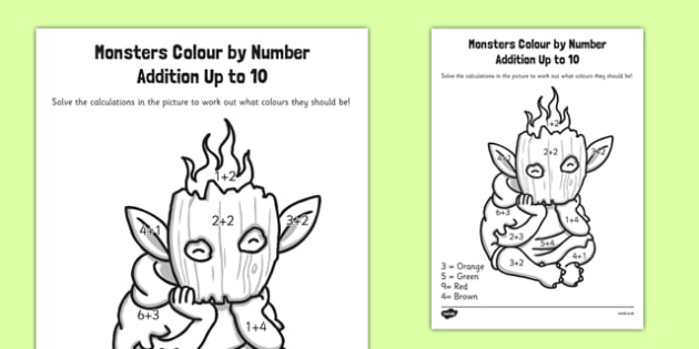 Monster Colour by Number Addition to 10 - monster, colour, number, addition, to 10, colour by number