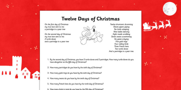 Twelve Days of Christmas Maths Activity Sheet - twelve days of christmas, maths, activities, christmas, sheet, worksheet