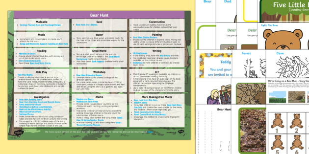 EYFS Enhancement Ideas and Resources Pack to Support Teaching on Bear Hunt - Early Years, continuous provision, early years planning, adult led, We're Going on a Bear Hunt, Michael Rosen, Helen Oxenbury, bears, animals