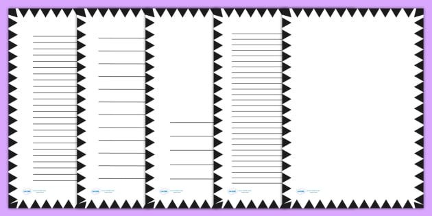 Black Zig Zag Page Borders - writing templates, writing frame