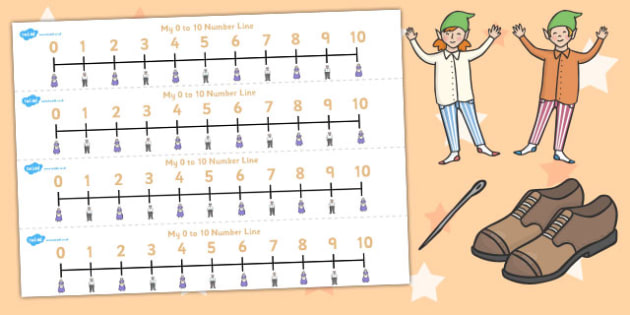 The Elves and the Shoemaker Number Lines 0-10 - number lines