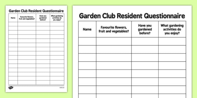 Elderly Care Gardening Club Resident Questionnaire - Elderly, Reminiscence, Care Homes, Gardening Club