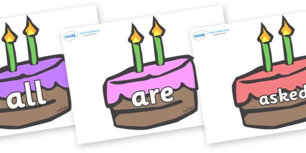 Tricky Words on Cakes - Tricky words, DfES Letters and Sounds, Letters and sounds, display, words