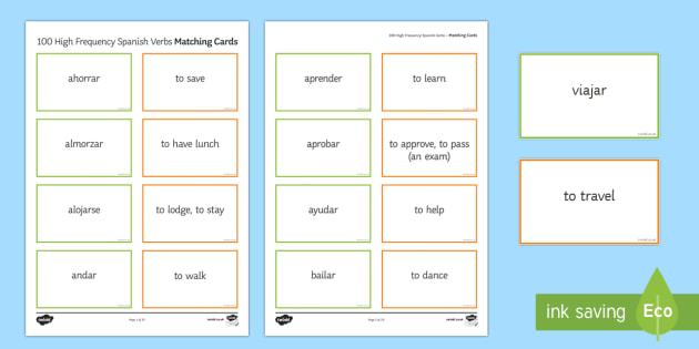 100 High Frequency Verbs Matching Cards