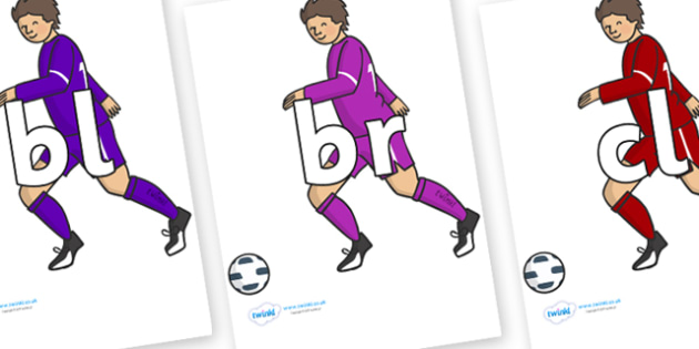 Initial Letter Blends on Football Players - Initial Letters, initial letter, letter blend, letter blends, consonant, consonants, digraph, trigraph, literacy, alphabet, letters, foundation stage literacy