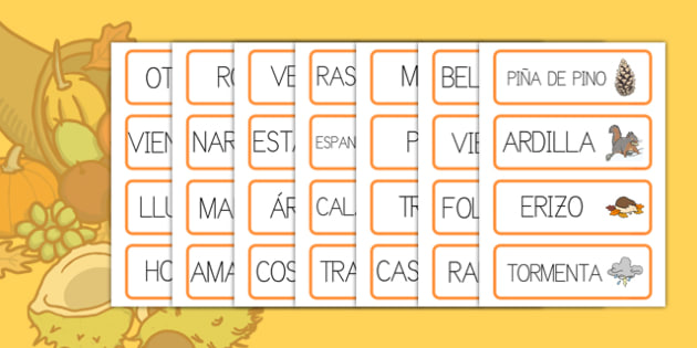 Tarjetas de vocabulario otoño