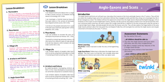 PlanIt History LKS2 Anglo Saxons and Scots Planning Overview CfE - scottish, history, comparisons, past, planning, topic, humanities, local