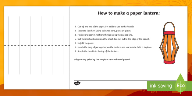 How to make a paper lantern craft instruction sheets how to for Chinese lantern template printables