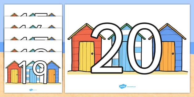 Numbers 0 20 on Beach Huts - count, seaside, holiday, summer