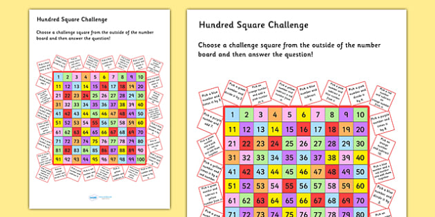 Hundred Square Challenge Sheet - count, counting aid, numeracy, Hundred square, hundred chart, addition, subtraction, multiplication, division, number facts