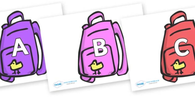 A-Z Alphabet on Backpacks - A-Z, A4, display, Alphabet frieze, Display letters, Letter posters, A-Z letters, Alphabet flashcards
