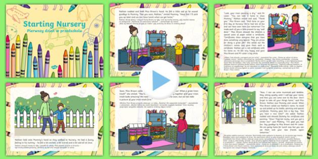 EYFS Starting Nursery Editable PowerPoint Story Polish Translation-Polish-translation