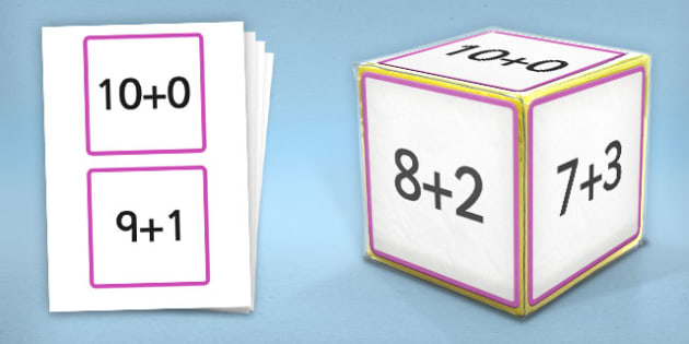 Giant Foam Dice Squares Addition to 10 - foam dice, squares, add